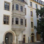 Sanierung Bleiverglasung Schöner Erker, Schloss Hartenfels