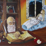 """Alchemist and sleeping Bauty"" Öl auf Holz - © Copyright by Eddie"