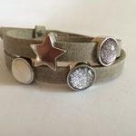 Armband grau mit Schiebeperle glitzer anthrazit, Pusteblume und weißer Perle