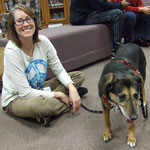 Kristin Crankshaw and Molly at the library