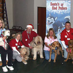 Part of the group at the end of the event.  Norma Raiff with Gary, Pat Hamilton with Benjamin, Forrest Hamilton with Cassidy, Lisa Massie with Gina, and Dale Massie with Sara. We were Santa's Lil' Sled Pullers for the day