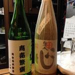 金箔入り日本酒と矢作差入れの芋焼酎