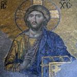 Prachtig versierde mozaiek in de Aya Sofia