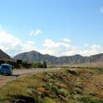 De weg van Bishkek naar Kochkorka