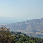 Zicht van op de site op de Golan Hoogvlakte en het meer van 'Tiberias' of het meer van Galilea