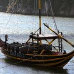 De boten die de vaten porto vervoerden op de Douro