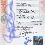 LE certificat joint à l'œuvre numérotée