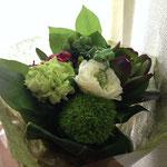 好きなグリーンの花束をもらったり