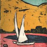 Peter Rensch, Boote auf dem Nil, Farbholzschnitt, 2006, e.a., 32,0 x 27,0 cm