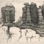 Siegfried Krepp, Landschaft, Aquatinta-Reservage, 1982, XIIXIII, 23,5 x 31,0 cm