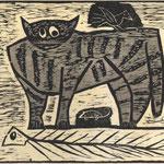 Egon Bresien, Katze mit Maus, Vogel und Fischgräte, Farbholzschnitt, o.J., 19,7 x 24,0 cm, unsigniert
