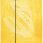 Gisela Grade, Schwarze Linie über hellen Formen, Farbradierung, 1996, Auflage 30, 24,0 x 19,5 cm