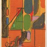 Wolfgang Leber, Aus der Ferne, Farbzinkographie 1998, e.a., 30,0 x 21,0 cm