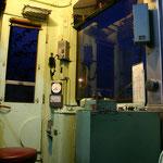 モハ11号運転室 仮設車内照明点灯
