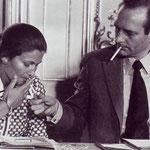 Simone Veil et Jacques Chirac, Conférence de presse à Matignon, 1974.