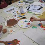 Palettes de peinture et oiseaux