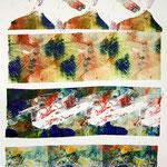 Farb- und Strukturstudie, Monotypie auf Papier, 42cm x 30cm