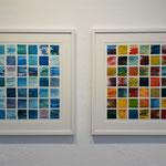 Druckgrafik Ausstellung Künstlerbund Tübingen 2018, jeweils 60 x 60 cm Rahmen