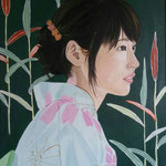 Il kimono celeste. 40x50 cm oil and acrylic on canvas. Sold!
