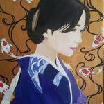 Il kimono blu. 40x50 cm olio e acrilico su tela. Sold