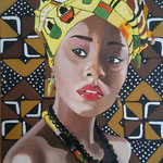 Lady Africa . 40 x50 cm oil and acrylic on canvas . Sold!