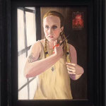 """Rosalia (la scelta) . 30x40 cm acrilico e olio su tela . Dipinto realizzato per l'esposizione """"Rosalia"""" presso l'aereoporto Falcone /Borsellino di Palermo"""