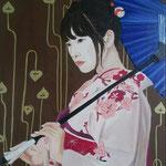L' ombrello blu. Olio e acrilico su tela 40x50 cm. Sold