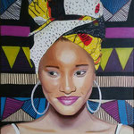 Sister Africa  . 40x50 cm oil and acrylic on canvas
