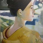 """memorie di una geisha . 50 x70 cm acrilico su tela . Dipinto vincitore del terzo premio al concorso """" donne nel cinema 2017"""" castello di Calenzano Firenze . Sold"""