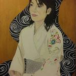 Il kimono bianco . Olio e acrilico su tela . 40 x50 cm Sold