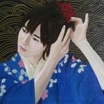 Il fiore rosso. 40x50 cm oil and acrylic on canvas. Sold!