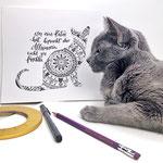 Mandala Katze Stickynote Lettering