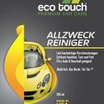 Etikett: Eco Touch Allzweckreiniger: löst hartnäckige Verschmutzungen, entfernt insekten, Teer und Fett, für Auto und Haushalt geeignet