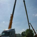 Umzug des 30 Meter Kamin für den Kohlekessel
