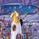 Lustige Wimmelbild Illustration für Heye Puzzles - Rakete