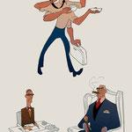 IIllustrationen für Bürotypen - Der Macher/ Der Bürokrat/ Der Boss - Magazin: GQ