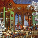 Lustige Wimmelbild Illustration für Heye Puzzles - Bücherei