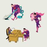 Vignetten-Illustrationen zu einem Artikel - Thema: Die neue Rolle des Mannes - Motiv: Superheld in Alltagssituationen - Magazin: Fokus