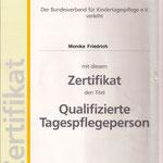 Zertifikat - Qualifizierte Tagespflegeperson