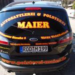 Heckscheibenbeschriftung Polsterei Maier