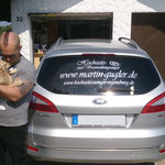 Heckscheibenbeschriftung Hochzeitssänger Martin Gugler