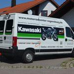 KFZ Beschriftung Motorradcenter Regensburg mit Digitaldruck