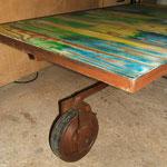 """Plateau planches"""" multi couleurs"""" patiné 60cmx100cm Ht 45cm"""