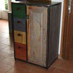 """meuble """"indus"""" couleur, fabriqué sur mesure, pour nous ! il est à la maison dans l'entrée !"""