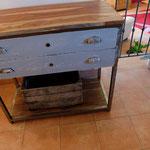 Meuble console, 2 tiroirs anciens, Ht93cm Larg 100cm Prof 51cm