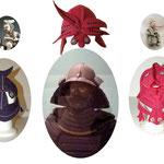 """""""Casques-masques"""" accompagnant l'armure de Samouraï et les Netsuke des collections du Musée des Beaux-arts."""