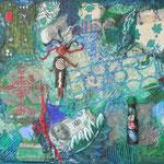 Werknummer 4.8: Collage und  Mischtechnik auf Holz, 40x50 cm, 480,- €