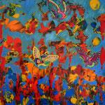 Werknummer 5.2: Mischtechnik und Collage auf Pappe, 50x70 cm, 670,- €