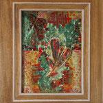 Werknummer 4.9: Mischtechnik und Collage auf Holz, 18x24 cm, 370,- €