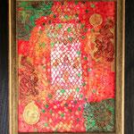 Werknummer 4.2: Mischtechnik und Collage auf Holz, mit Rahmen 41x51 cm